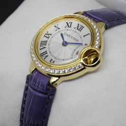 Ballon Bleu de Cartier small swiss quartz watch diamond yellow gold purple leather strap