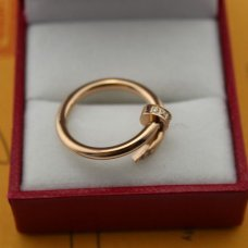 Cartier Juste un Clou pink gold replica ring with diamonds B4094800