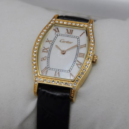 Cartier Tortue diamond watch for women 18K yellow gold white mother of pearl dial