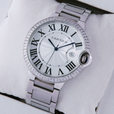 Ballon Bleu de Cartier large diamond watch replica silver dial stainless steel