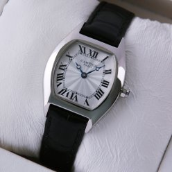 Cartier Tortue small ladies watch stainless steel black leather strap