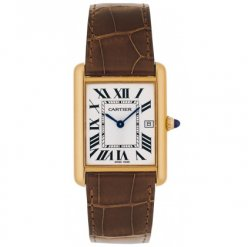 Cartier Tank Louis 18K yellow gold mens watch replica W1529756 brown leather strap