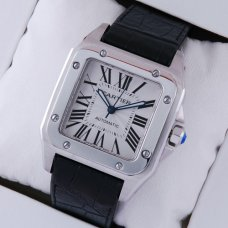 Cartier Santos 100 large swiss automatic watch W20073X8 steel black alligator strap