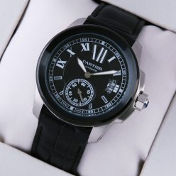 Calibre de Cartier black automatic mens watch replica with leather strap