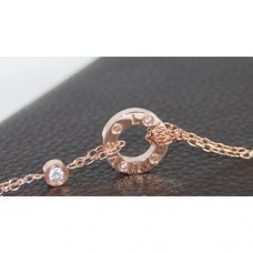 Cartier Love pink gold imitation necklace with two diamonds