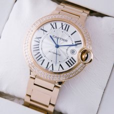 Ballon Bleu de Cartier WE9008Z3 large diamond watch replica 18K pink gold