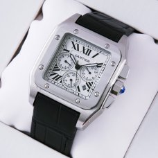 Cartier Santos 100 Chronograph watch for men stainless steel black alligator strap