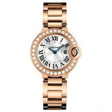 Ballon Bleu de Cartier small swiss quartz pink gold watch WE9002Z3 with diamond bezel
