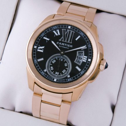 Calibre de Cartier automatic mens watch replica W7100040 pink gold black dial
