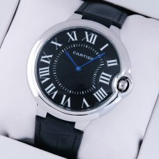 Ballon Bleu de Cartier extra large watch black dial steel black leather strap
