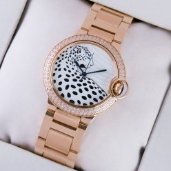 Ballon Bleu de Cartier medium swiss watch diamond 18kt pink gold leopard-print dial