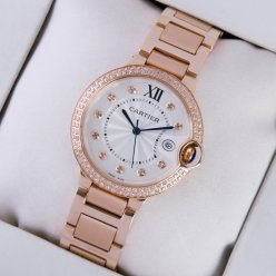 Ballon Bleu de Cartier medium swiss quartz diamond watch date 18kt pink gold