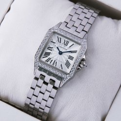 Cartier Santos Demoiselle 18K white gold diamond swiss watch for women WF9004Y8