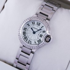Ballon Bleu de Cartier small quartz steel watch with two rows diamonds bezel