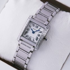 Cartier Tank Francaise diamond watch for women WE1002S3 stainless steel
