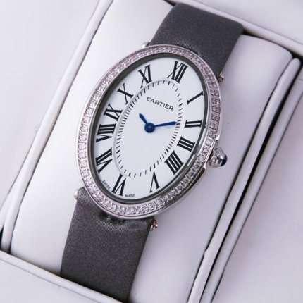 Cartier Baignoire steel diamond watch for women grey satin strap