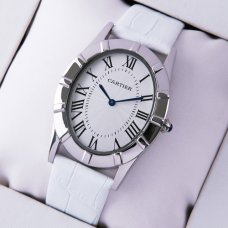 Cartier Baignoire steel large imitation watch white leather strap