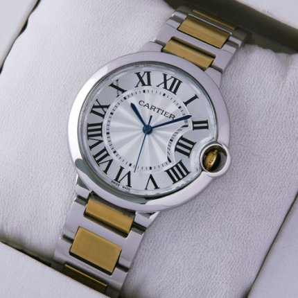 Ballon Bleu de Cartier medium replica watch two-tone 18kt yellow gold and steel