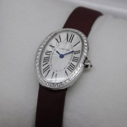 Cartier Baignoire swiss womens watch replica steel single row of diamonds