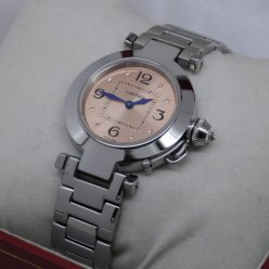 Cartier Pasha C imitation small ladies watch stainless steel pink salmon dial