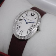 Cartier Baignoire swiss womens watch replica steel two rows of diamonds