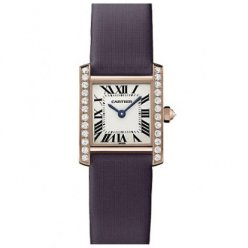 Cartier Tank Francaise diamond ladies watch WE104531 pink gold black stain strap