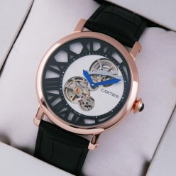 Rotonde de Cartier tourbillon mens watch replica 18K pink gold white-black dial