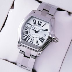 Cartier Roadster medium stainless steel silver dial automatic replica watch for men