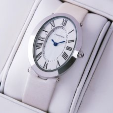 Cartier Baignoire steel womens watch replica white satin strap