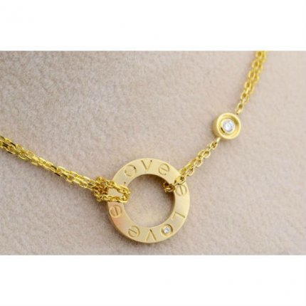 Cartier Love yellow gold necklace replica B7219500 with two diamonds