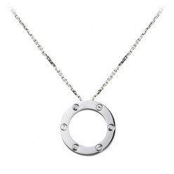 Cartier Love white gold necklace B7014600 pendant with three diamonds