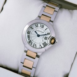 Ballon Bleu de Cartier small quartz watch replica two-tone 18kt pink gold and steel