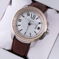 Calibre de Cartier quartz diamond watch two-tone pink gold and steel brown leather strap