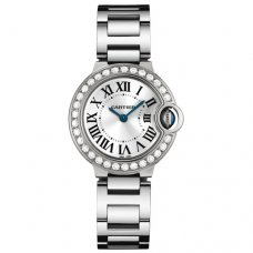 Ballon Bleu de Cartier small swiss quartz white gold watch WE9003Z3 with diamond bezel