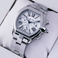 Cartier Roadster Chronograph stainless steel silver dial imitation watch for men