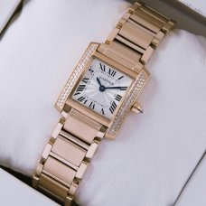 Cartier Tank Francaise 18K pink gold swiss watch with diamonds for women