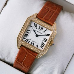 Cartier Santos Dumont diamond watch for women 18K pink gold brown leather strap