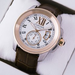 Calibre de Cartier mens watch W7100011 two-tone 18K pink gold and steel