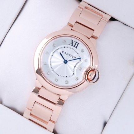 Ballon Bleu de Cartier medium swiss quartz watch 18kt pink gold diamond dial