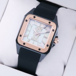 Cartier Santos 100 Limited Edition swiss watch for women tow-tone black and pink gold