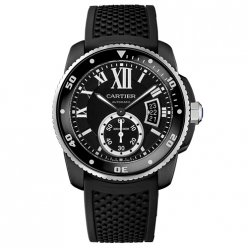 Calibre de Cartier Diver replica watch WSCA0006 ADLC steel black rubber strap