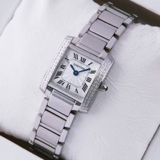 Cartier Tank Francaise steel womens replica watch with two rows diamonds on bezel
