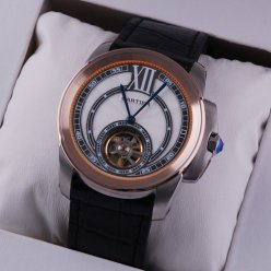 Calibre de Cartier Flying Tourbillon mens watch two-tone pink gold and steel black leather strap