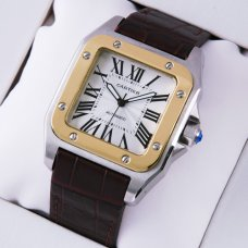 Cartier Santos 100 automatic mens watch two-tone yellow gold and steel brown leather strap