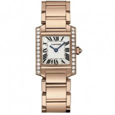 Cartier Tank Francaise womens diamond watch replica WE10456H 18K pink gold