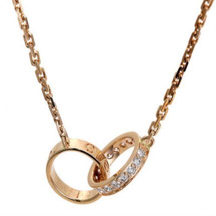 Cartier Love imitation pink gold diamond necklace B7013900
