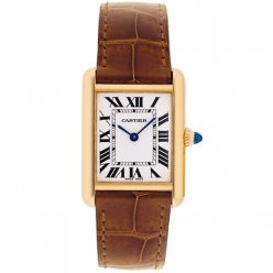 Cartier Tank Louis 18K yellow gold ladies watch replica W1529856 brown leather strap