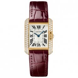 Cartier Tank Anglaise small diamond watch WT100013 18K pink gold leather strap
