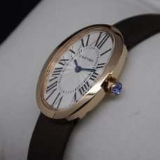 Cartier Baignoire swiss watch for women 18K pink gold coffee satin strap