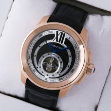Calibre de Cartier Flying Tourbillon pink gold mens watch black dial and leather strap